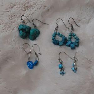 4 pair faux turquoise earrings